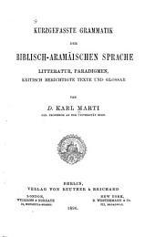 """תנ""""ך. לקוטים. ארמית. 1896: Litteratur, Paradigmen, kritisch berichtigte Texte und Glossar"""
