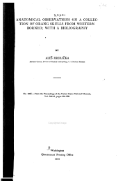 Anatomical Observations on a Collection of Orang Skulls from Western Borneo; with a Bibliography