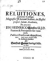 Reluitiones; praes. Heinrich Linck