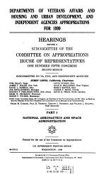 Departments of Veterans Affairs and Housing and Urban Development, and Independent Agencies Appropriations for 1999