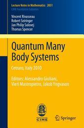 Quantum Many Body Systems: Cetraro, Italy 2010, Editors: Alessandro Giuliani, Vieri Mastropietro, Jakob Yngvason