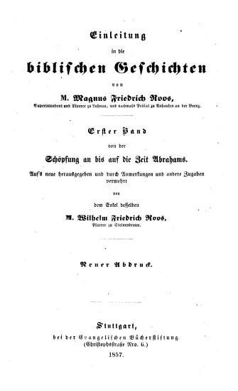 Einleitung in die biblischen Geschichten PDF