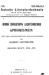 Georg Christoph Lichtenbergs Aphorismen: nach den handschriften, Band 123