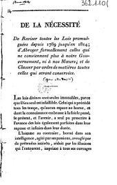 De la nécessité de reviser toutes les lois promulguées depuis 1789 jusqu'en 1814....