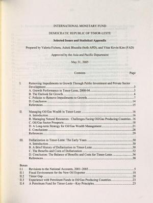 Democratic Republic of Timor Leste  Selected Issues and Statistical Appendix PDF