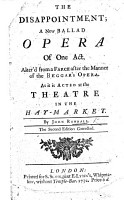 The Disappointment  a new ballad opera of one act and in prose  with songs   alter d from a farce A Wife well Manag d  by Mrs  Centlivre after the manner of the Beggar s Opera PDF