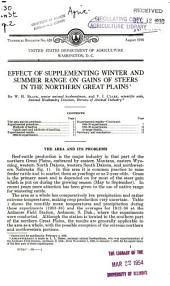 Effect of supplementing winter and summer range on gains of steers in the northern Great Plains
