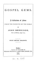 Gospel gems  a collection of notes from the margins of the Bible of John Berridge  ed  by W  Wileman PDF