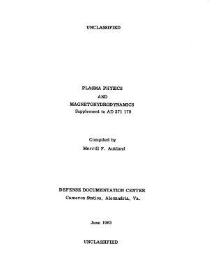 Plasma Physics and Magnetohydrodynamics PDF