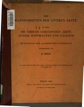 Die Handschriften der antiken Ärzte 1905- 1906
