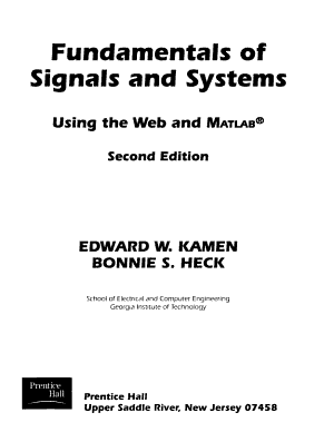 Fundamentals of Signals and Systems Using the Web and MATLAB PDF