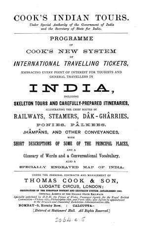 Cook s Indian tours     Programme of Cook  new system of international travelling tickets     for tourists     in India