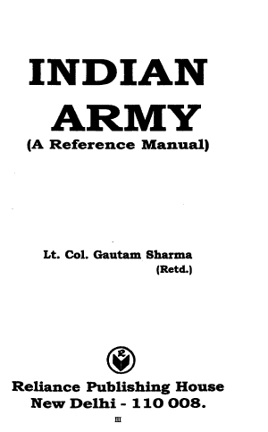 Indian Army  a Reference Manual