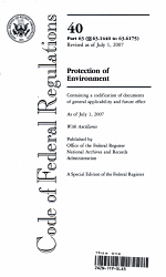 Code Of Federal Regulations Title 40 Protection Of Environment Pt 63 Sec 63 1440 63 6175 Revised As Of July 1 2007 Book PDF