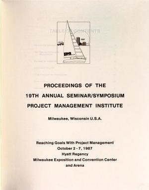 Proceedings of the ... Annual Seminar/Symposium, Project Management Institute
