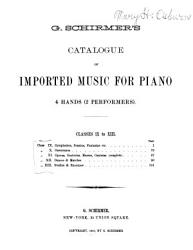 Catalogue of Imported Music for Piano 4 Hands  2 Performers    Classes IX to XIII  PDF