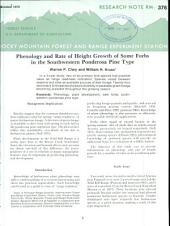 Phenology and rate of height growth of some forbs in the southwestern ponderosa pine type