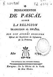 Pensamientos de Pascál sobre la religion
