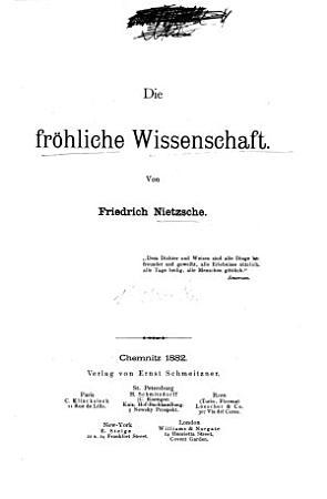 Die fr  hliche Wissenschaft PDF