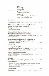 WPA  Writing Program Administration PDF