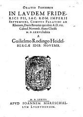 Oratio Funebris In Laudem Friderici Pii. S. R. Imperii Septemviri, Comitis Palatini ad Rhenum Ducis Bavariae
