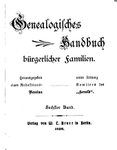 Deutsches Geschlecterbuch: Band 6