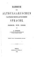 Handbuch der altbulgarischen  altkirchenslavischen  Sprache PDF