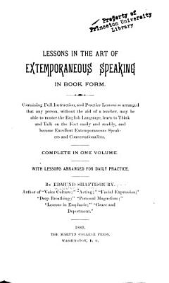 Lessons in the Art of Extemporaneous Speaking in Book Form