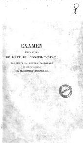 Examen impartial de l'avis du Conseil d'État touchant la lettre pastorale de M. le cardinal de Clermont-Tonnerre