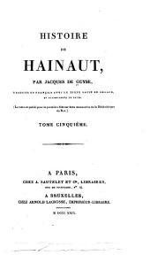 Histoire de Hainaut: Volume5,Partie1