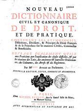 Nouveau dictionnaire civil et canonique de droit et de pratique
