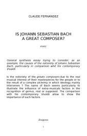 Is Johann Sebastian Bach a great composer ?