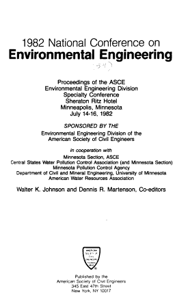 Proceedings of the ASCE Environmental Engineering Division Specialty Conference PDF
