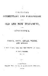 A Critical Commentary And Paraphrase On The Old And New Testament And The Apocrypha  Book PDF