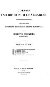 Corpus inscriptionum Graecarum: Τόμος 1