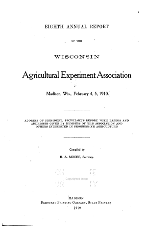 Annual Report of the Wisconsin Agricultural Experiment Association