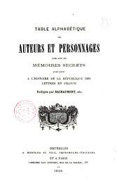 Table alphabétique des auteurs et personnages cités dans les Mémoires secrets pour servir à l'histoire de la république des lettres en France