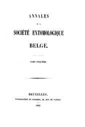 Annales de la Société entomologie de Belgique: Volumes5à8