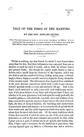 "A Tale of the Times of the Martyrs. [Extracted from ""The Anniversary"" for 1829.]"