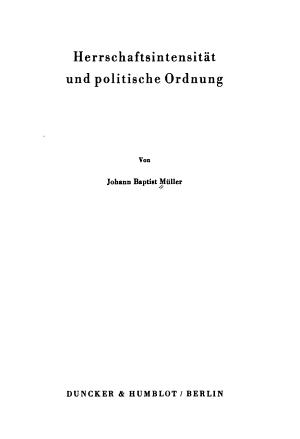 Herrschaftsintensit  t und politische Ordnung PDF