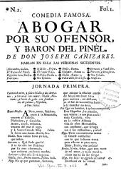 Abogar por su ofensor, y barón del Pinél: comedia famosa