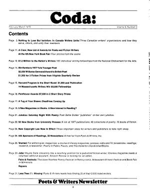 Coda: Poets & Writers Newsletter