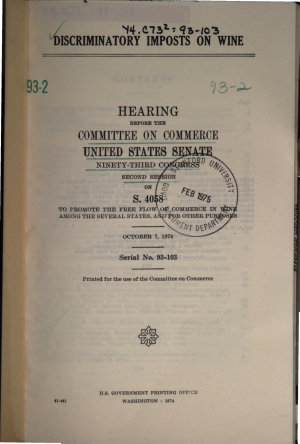 Discriminatory Imposts on Wine  Hearing Before     93 2  Oct  7  1974