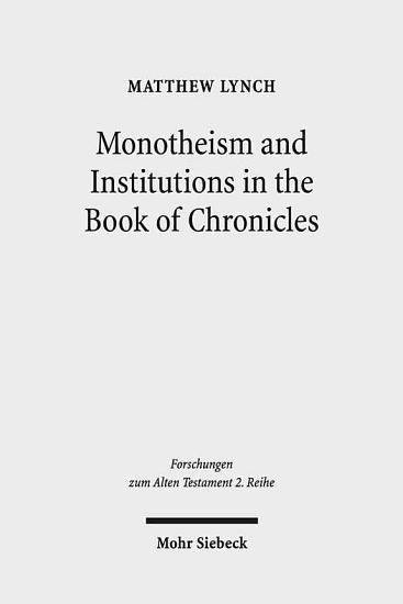 Monotheism and Institutions in the Book of Chronicles PDF