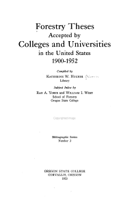 Forestry Theses Accepted by Colleges and Universities in the United States PDF