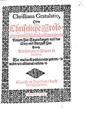 Christiana Gratulatio, Oder Christliche Frolockung vnd Glückwünschung sambt Neuen Jar Schankungen auff das Drey vnd Achtzigst Jar