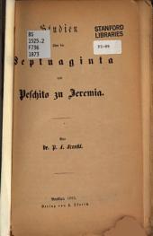 Studien über die Septuaginta und Peschito zu Jeremia