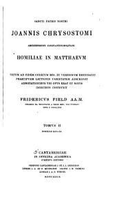 Homiliae in Matthaevm: Homiliae XLV-XC
