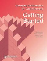 Reshaping Mathematics for Understanding  RMU   Getting Started PDF