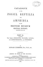 Catalogue of the Fossil Reptilia and Amphibia in the British Museum (Natural History): The orders Anomodontia, Ecaudata, Caudata and Labyrinthodontia; and supplement